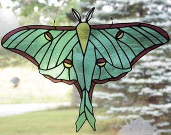 Stained Glass Luna Moth, Stained Glass Moth, Wildlife Art, Stained Glass Window Panel, Glass Art