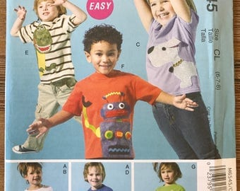 UNCUT Child's Top and Appliqués Sewing Pattern McCall's 6545 Size 6-7-8 Casual, School Clothes, Easy Sewing, Beginners Pattern