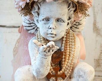 Cherub statue adorned pink rose crown shabby cottage chic distressed ornate angel pearls figure home decor design by anita spero design