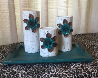 Wooden Candleholders (set of 3) White with Turquoise Flowers