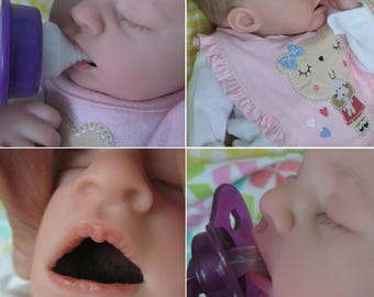 OPEN MOUTH reborn baby, Holds ANY size pacifier, Faux formula bottle, ready to ship!, reborn baby girl