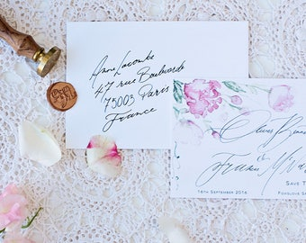 Save the date Watercolour Wedding Invitation & Packages   Custom Calligraphy Wedding   peonie Wedding   The Bloom Collection