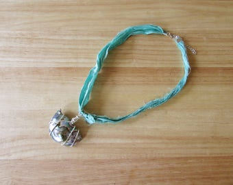 Wire Wrapped Abalone on Sari Silk Ribbon Necklace