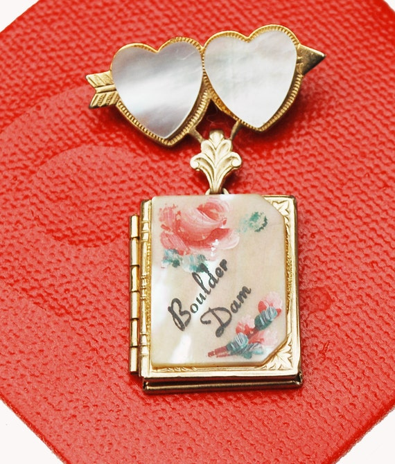 Book Locket Necklace - Mother of Pearl MOP - gold book locket - Boulder dam - Souvenir locket