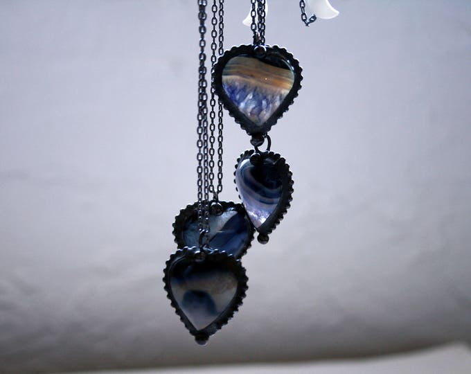 Purple Agate Heart Crystal Necklace