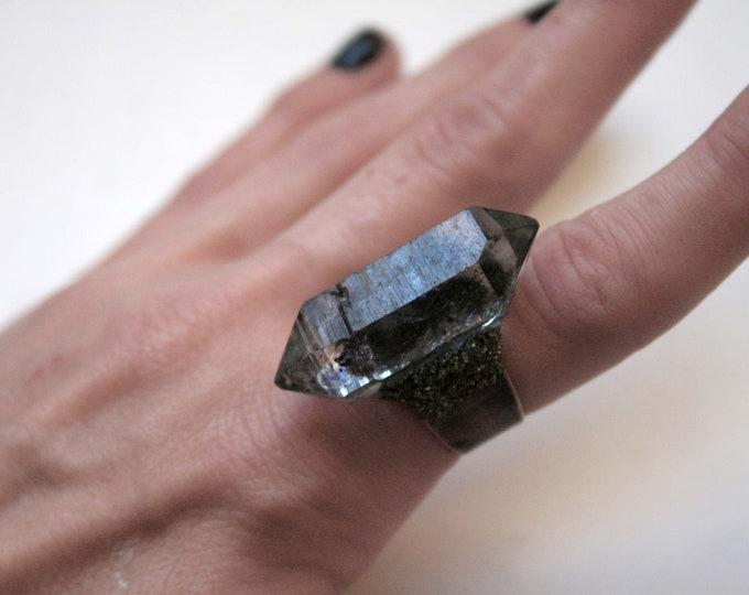 Tibetan Smoky Center Quartz Crystal Ring