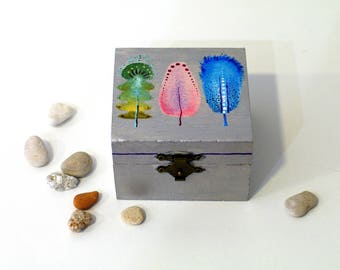 Hand painted memorial box Original handmade keepsake art box - jewelry box for her - memorial gift - memory box - wood silver feathers box