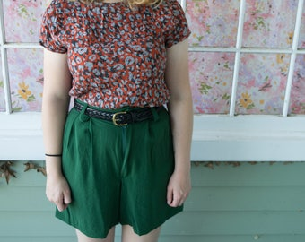 Vintage 90s Green Culottes Shorts