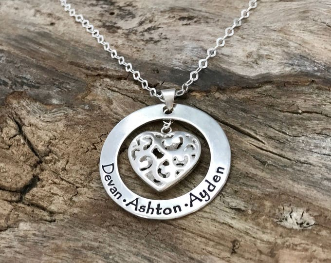 Personalized Mothers Necklace | Family Necklace | Family Jewelry with Kids Names | Sterling Silver Filigree Heart Necklace | Hand Stamped
