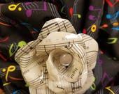 Sheet Music Flower Brooch - High Gloss Vintage Sheet Music Rose Pin/Brooch - Gift for Musician - Piano Teacher Gift - Music Art - Music Pin