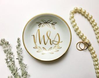 Mrs. Ring Dish, Jewelry Dish, Trinket Dish, Wedding Ring Dish