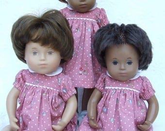 Ready to ship - Short Sleeved Polka Dots and Children print Dress or Romper for Sasha Toddler, Baby or Muller Wichtel 30/32cm Doll