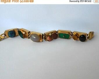 CIJ SALE Vintage Bracelet with Many Different Colored glass Cabochons, Gemstones Gold Tone MargsMostlyVintage