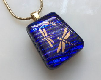 Dragonfly Pendant, Dichroic Glass Jewelry, Cobalt Blue Dragonfly Dichroic Necklace