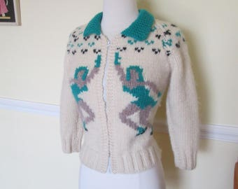 Fantastic Vintage 1950s 50s Iceskaters and Snowflakes Wool Cowichan Atomic Sweater Jacket -Bad Girl-JD-Pinup-Bombshell-Vixen-Rockabilly