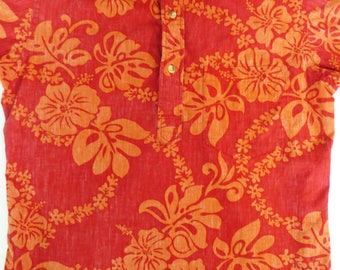 Vintage Reverse Print Cotton Hawaiian Shirt, Ono Liberty House, Orange Hibiscus Print, Men's Small