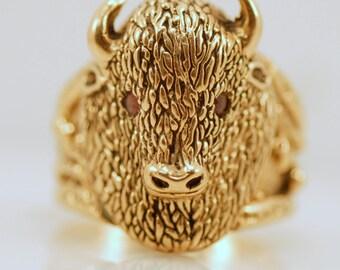 Rare Johnny Blue Jay Hopi 14k Yellow Gold Buffalo Head Ring Ruby Native American Buffalo