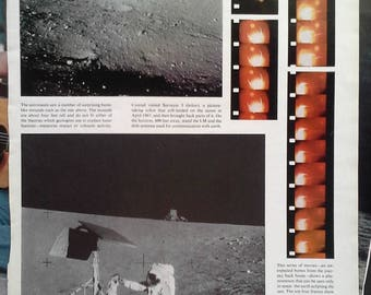 Apollo 11 Flag on Moon 3 Pages In Space On Moon Color & BW.  Cool History.  Armstrong Aldrin Historic Moon Walk Pics.  Man Cave. 2 pages.