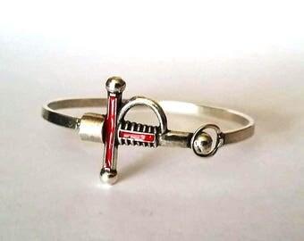 Mens bracelet, Sword bracelet, brass bracelet, enamel bracelet, bracelet for men,