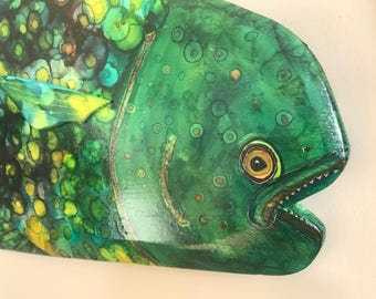 EMERALD JACK, One-of-a-kind Hand Painted Fish Carving