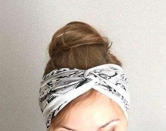 white woman's turban jersey knit headband twist headband knotted head wrap head band yoga hair accessory boho trendy earwarmer retro style