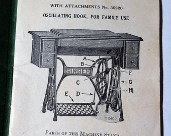 SINGER 66 Sewing Machine Instruction Manual dated 1920