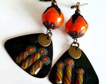 Ceramic dangle earrings bronze copper enameled dark orange. .
