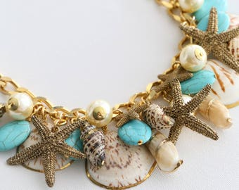 Shells Necklace - Turquoise & Starfish
