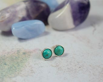 Turquoise Studs, Turquoise Earrings, 925 Silver Earrings, Small Post Earrings, Small Blue Studs, December Birthstone, Birthday Gifts