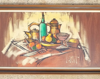 Original Mid Century Modern Abstract Painting Signed Barret, Oil on Canvas Painting, Still Life, Large, Framed, Vintage, 1960'S