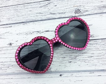 RASPBERRY Heart Sunglasses, Neon Pink Sunglasses, Diamante Sunglasses, Pink Sunnies, Black Sunglasses, Hot Pink Sunglasses, Valentine's Gift