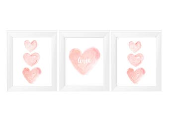 11x14 Nursery Print, Blush Wall Decor, 11x14 Set of 3 Watercolor Prints, Blush Nursery Decor, Personalized Print, Blush Baby Decor