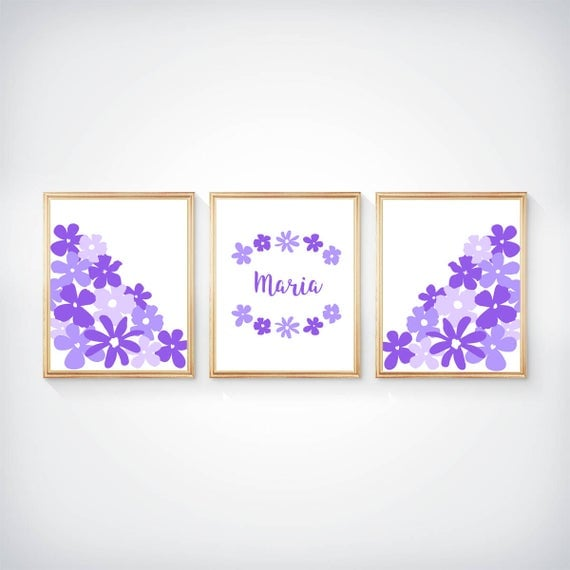 Purple Girls Prints, 8x10 Set of 3, Custom Name