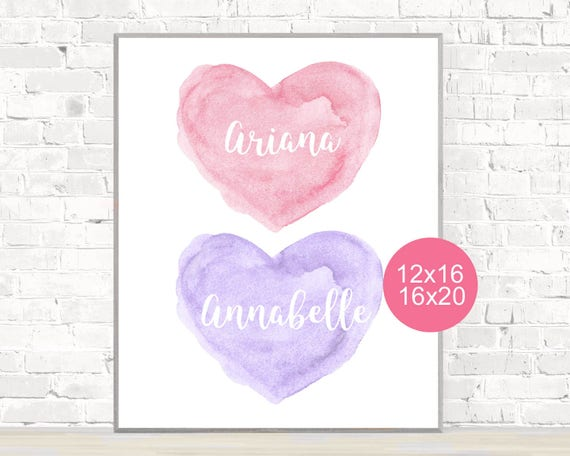 Sisters Wall Decor, 12x16, 16x20, Pink and Purple Heart Print Personalized with Names