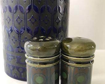 Vintage 1970s Arthur Wood Green Salt and Pepper Shakers, Cruet Set