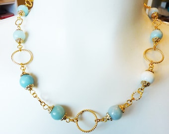Amazonite Gold Ring Necklace - Teal Moss Light Blue Golden