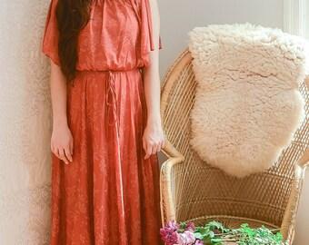 vintage 1970s burnt orange floral pleated maxi dress