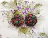Fabric Covered Button Earrings / Liberty of London / Small Stud Earrings / Gifts for Her / Wholesale Jewelry / Abstract Floral Print / Bulk