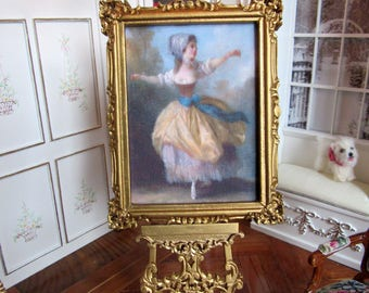 "1:12th Scale ~ Dolls House Miniature ~ 18th Century  ""Dancer"" Silk Panel In Gilded Wooden Frame"