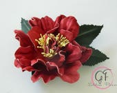 Leather  crimson   camellia flower pin brooch hair hat clip