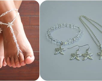 Starfish Barefoot Sandals Set Beach Wedding Foot Jewelry Anklet Beach Jewelry Bridesmaids Gift Necklace Earring Bracelet Package