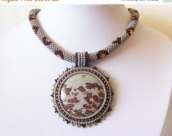 15% SALE Beadwork Bead Embroidery Pendant Necklace with Chohua Jasper - HOPE DANCE - grey brown gold modern necklace - beadwork necklace