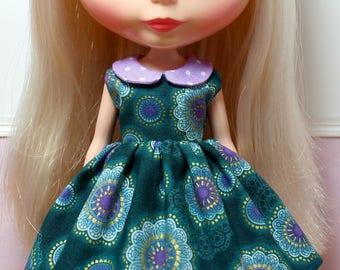 BLYTHE doll collared party dress - purple mandalas