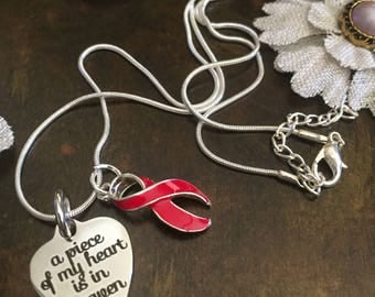 Piece of my Heart Heaven Memorial - Red Ribbon Charm Necklace / Heart Disease, HIV Aids Awareness, Heart Attack, Stroke