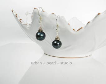 Sterling Silver Freshwater Black Pearl Earrings Silver Bali Bead Cap On Real Pearl Drop Earrings