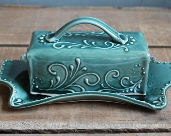 Butter Dish, Teal Green, handmade ceramic, lidded, Mothers Day gift, present, Made to Order