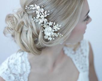 Silver Floral Bridal Clip, Floral Bridal Hair Clip, Flower Wedding Hair Comb, Bridal Hair Accessory, Floral Wedding Headpiece ~TC-2274