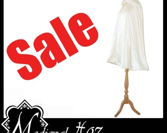 High Quality Ivory Countess Satin Short Cloak/ Cape lined with Ivory Shimmer Satin. Ideal for Medieval Wedding Hand Fasting SALE Bargain!