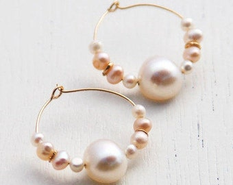 Gold pearl Hoop earrings, pearl hoop earrings, gold hoops, bridesmaid earrings, pearl earrings, silver hoops, stone hoops, wedding