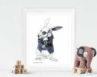 White Rabbit drawing - original art, character art, art,alice's adventures, rabbit art, children's art,The White Rabbit Drawing, nursery art